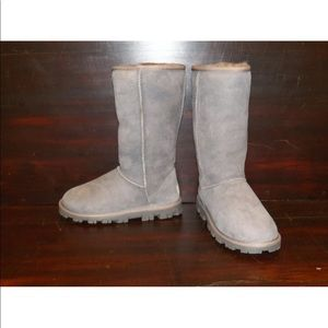 New Womens UGG Essential Tall Grey Sheepskin Boots